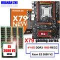 Скидка материнской платы с M.2 слот NVMe HUANAN Чжи deluxe X79 игровая материнская плата с Процессор Xeon E5 2680 V2 Оперативная память 64G (4*16G) регистровая и ...