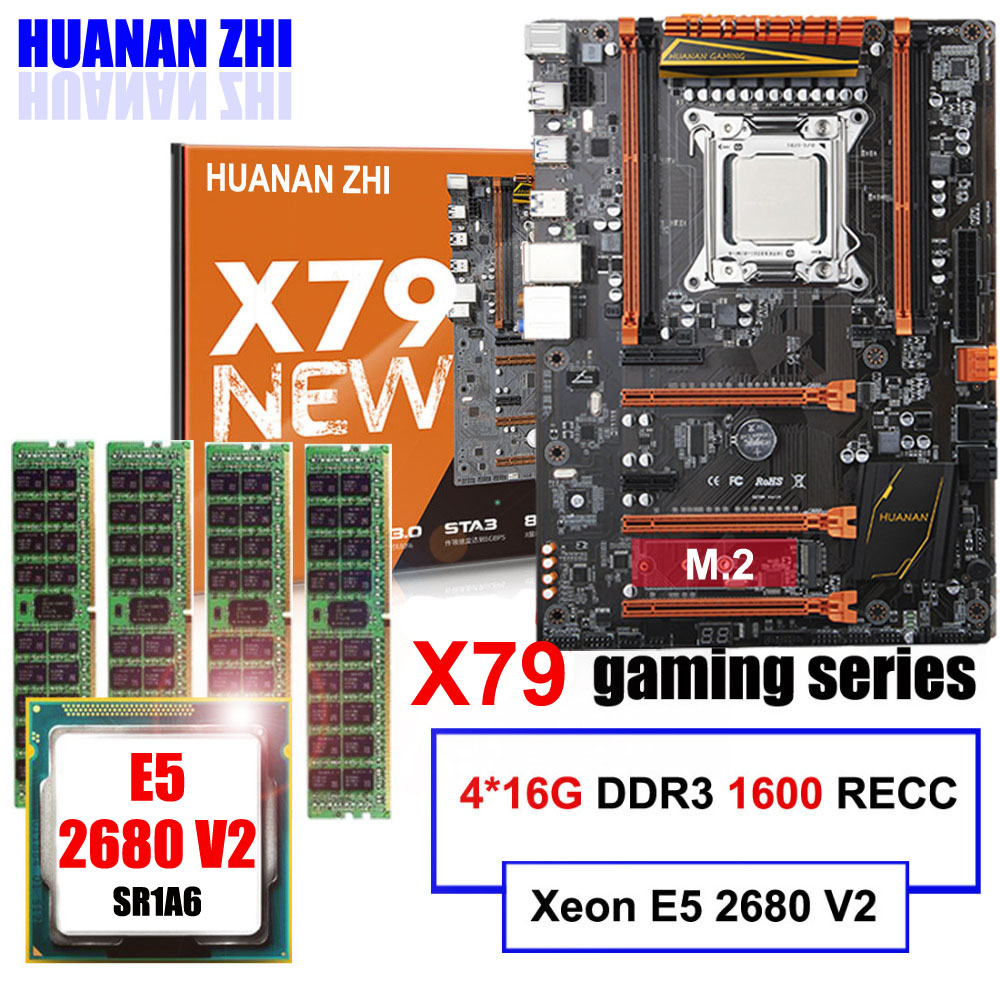 Discount Motherboard With M.2 Slot NVMe HUANAN ZHI Deluxe X79 Gaming Motherboard With CPU Xeon E5 2680 V2 RAM 64G(4*16G) REG ECC