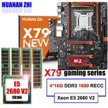 Descuento Placa base con M.2 ranura NVMe HUANAN ZHI deluxe X79 de placa base con CPU Xeon E5 2680 V2 RAM 64G (4*16G) REG ECC