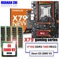 Korting moederbord met M.2 slot NVMe HUANAN ZHI deluxe X79 gaming moederbord met CPU Xeon E5 2680 V2 RAM 64G (4*16G) REG ECC