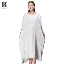 Outline лето женщина dress белый ретро slash шеи с коротким рукавом свободные хлопок dress шелковый повседневная плюс размер длинные платья l143y018