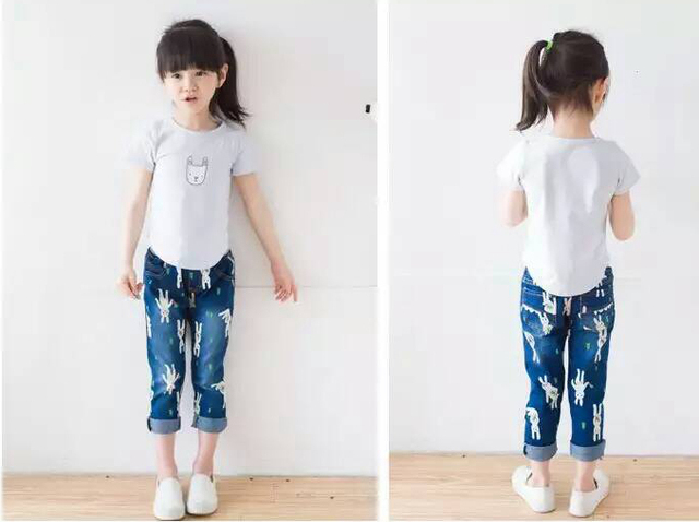 New Arrival Baby Girls Cute Denim Jeans Girls Character-rabbit-print  Denim Jeans Kids Spring Autumn Long Pants Casual Trousers