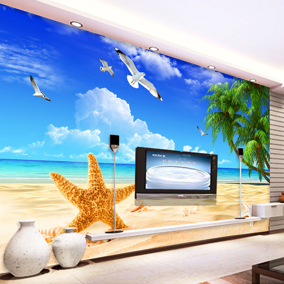 Custom 3D Mural Wallpaper Seaside Landscape Natural Scenery Seagull Coconut  Tree Beach Wall Mural Living Room