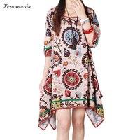 Christmas Print Dress Women Hippie Boho Autumn Dress 2017 Korean Plus Size Online Shopping India Ethnic