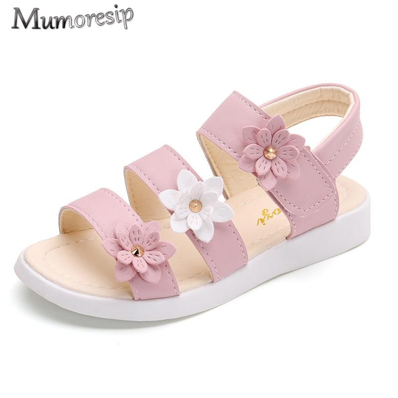 Children's Shoes Summer Style Children Sandals Girls Princess Beautiful Flower Shoes Kids Flat Sandals Baby Girl Gladiator Soft