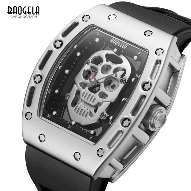 f83ccb6d0ce1 BAOGELA New Skull Men Watches Military Silicone Brand Pirate Hollow Watch  Men Luminous Sports Wristwatch Relogio