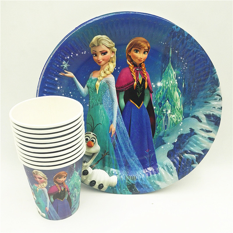 20pcsset Elsa And Anna PlateCup Kids Birthday Decoration Party Supplies Girls Party Supplies Theme party favor