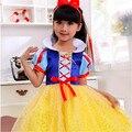 Buena calidad del envío libre cosplay vestido de princesa niñas blancanieves niñas jugando vestido de Fiesta vestido de 2-12 años