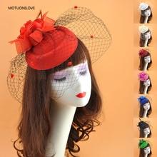 Bridal Headwear Tea Party Fascinator Hat Feather Flower Pillbox Hats Birdcage Wedding Face Veils Womens For Banquet