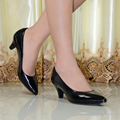 Hight quality women's genuine leather med heels shoes Classic Sexy Pointed toe pumps dress shoes for office ladies shoes 2588-16