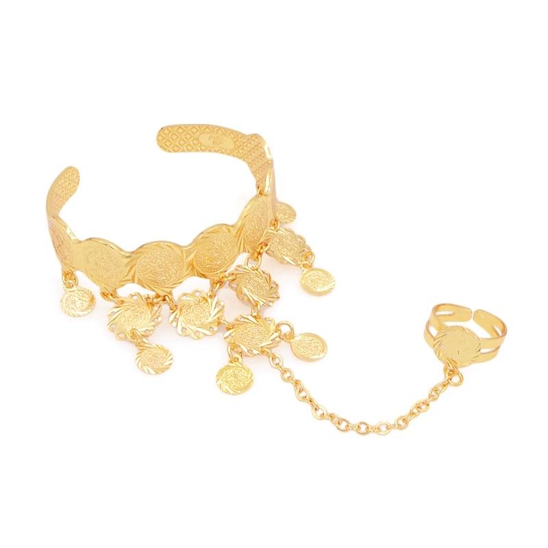 Новый арабский религиозные древние монет золотой цвет браслет украшения для Для женщин ...