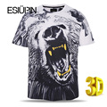 ESIUPIN Marca 3d Tshirt Europa América Estilo T-shirt Da Forma Solta homens Cobre T Camisas de Impressão T camisa Do Cão Plus Size L-3XL