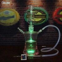 Szklane Fajki Wodne rury i palenia nargile Smooking ze Zdalnym Wielokolorowe LED i chicha szisza miska i shisha bar