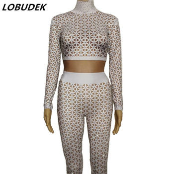 Formal Female Singer Sexy Stage Outfit White Nude Printed Bright Rhinestones Jumpsuit Party Costume Prom Dancer performance wear