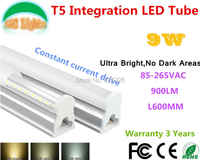 9 W Ultra brillante No las zonas oscuras T5 integración tubo LED CE RoHS plaza de compras luces supermercados de ahorro de energía lámparas 10 piezas por lote
