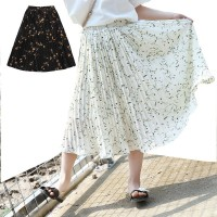 Floral Pattern Black White Skirts For Girls Maxi Long Big Kids Casual High Waist Skirt Girl