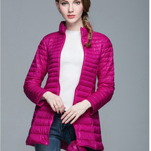 Women warm down jacket autumn winter pure color stand collar long sleeve high quality thin slim long warm coat down jacket