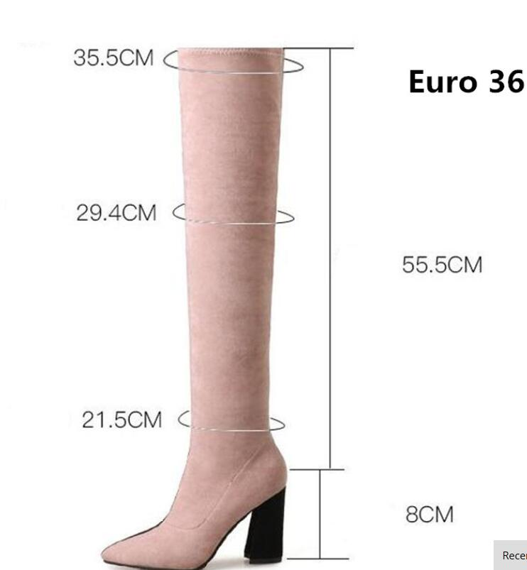 Fashion 2019 Women Thigh High Boots Pink Black Mixed Winter Botines Mujer Sexy Over The Knee Boots Ladies Long Boots for Women in Over the Knee Boots from Shoes
