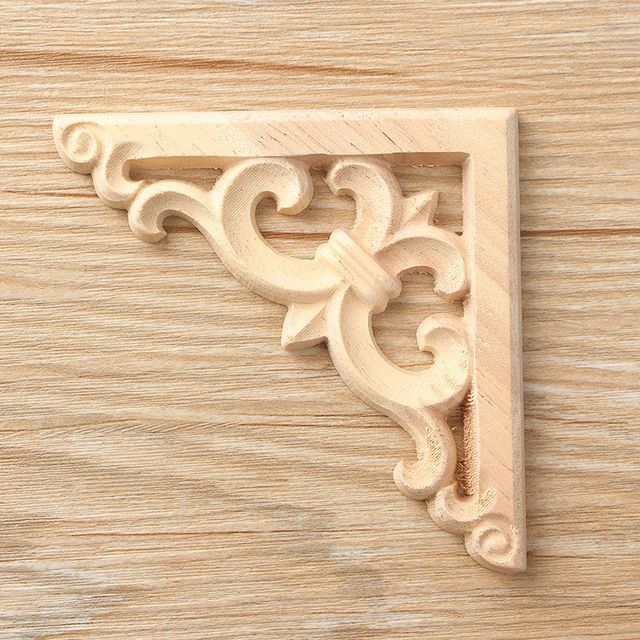 Newest Retro Wood Carved Decal Corner Onlay Applique Frame Furniture ...