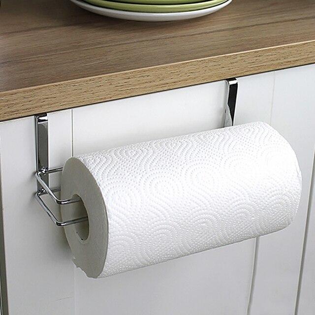 Stainless Steel Kitchen Tissue Hanging Holder Bathroom Toilet Roll Paper Towel Rack Cabinet Door