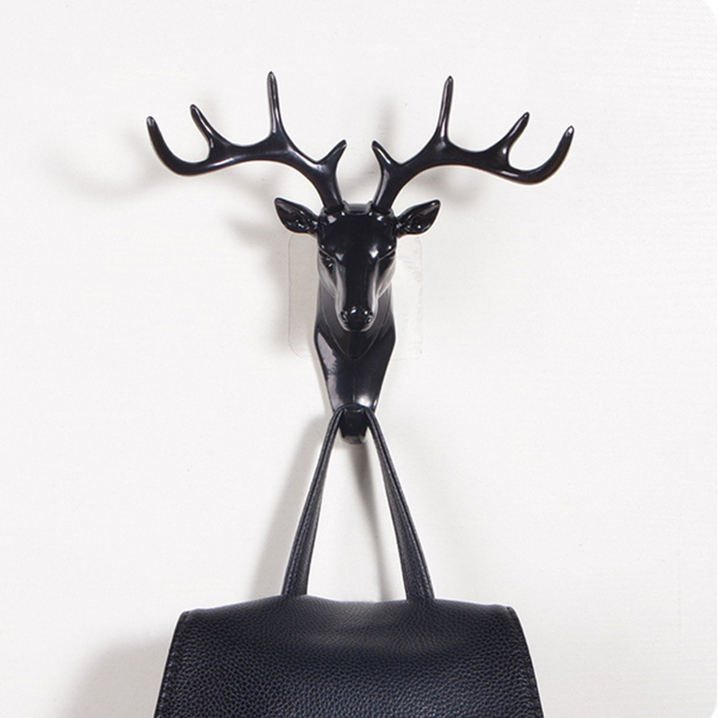 Key Decorative Hooks <font><b>Deer</b></font> Head Adhesive Clothing Display Racks Hook Coat <font><b>Hanger</b></font> Cap Room Decor Show Wall Bag Keys Sticky Holder@ image