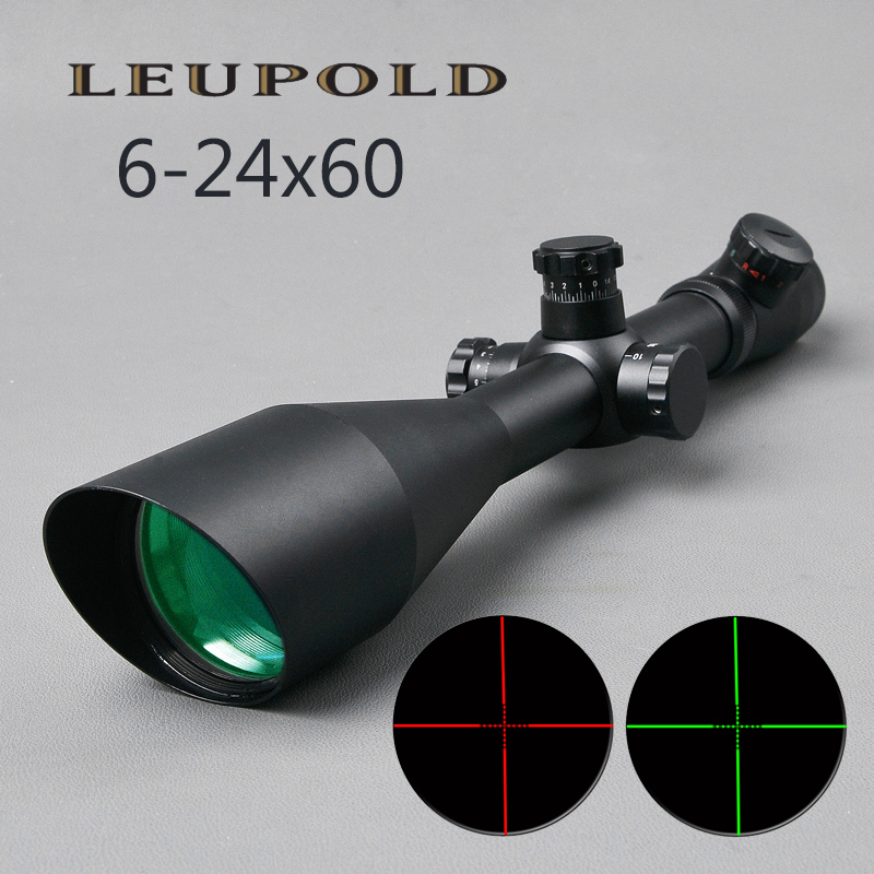 NEW M1 6 24x60 AO Tactical Outdoor Hunting Optics Scope Illuminated Red and Green Mildot Side
