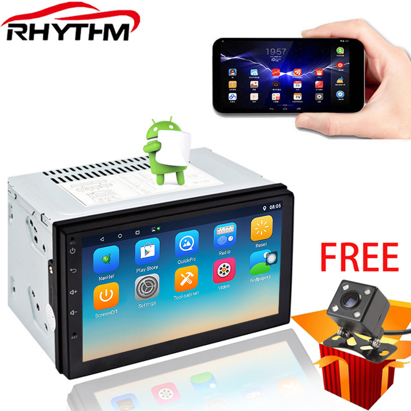 Rhythm 2 din car radio with navigation autoradio android 7.1.1/6.0 car stereo 1024*600 double din multimedia player support dab