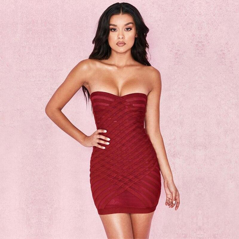 3688 Las Mujeres Sexy Vendaje Vestido 2018 Nuevo Estilo De Moda Rojo Vino De Hombro Vestido De Verano Noche Vestidos De Fiesta Vestido Venta Al Por