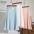 Women's Korean Style High Waist Midi Skirt 2016 Summer Casual Manual Pleated Non-fading 7 Colors Slim School Skirts Saia SK78