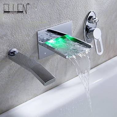 Wall Waterfall Bathtub LED Waterfall Tub Faucet with Pull out Hand ...
