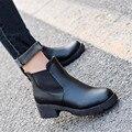 Женщины Зима Мартин Сапоги Толстые Каблуки Сапоги на Высоком каблуке Голые Непромокаемую Обувь Женская Классические Туфли
