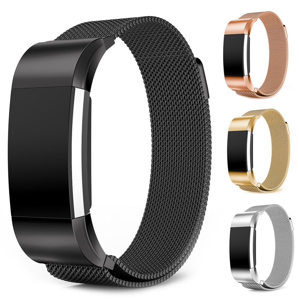New Magnetic Metal Strap For Fitbit Charge 2 Replacement Stainless Steel Wristband Watch Band For Fitbit Charge Smart Bracelet quality bracelet stainless steel strap 18mm for fitbit charge 2 smart watch metal band with adapter