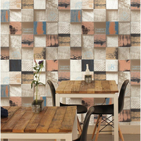 beibehang Retro style vintage antique wood wallpaper square plaid clothing store barber shop restaurant background wallpaper