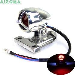 Chrome kęsów aluminium motocykle LED hamulec tylne światło w/tablicy rejestracyjnej lampa do harleya Yamaha rozdrabniacze Boober uniwersalny na