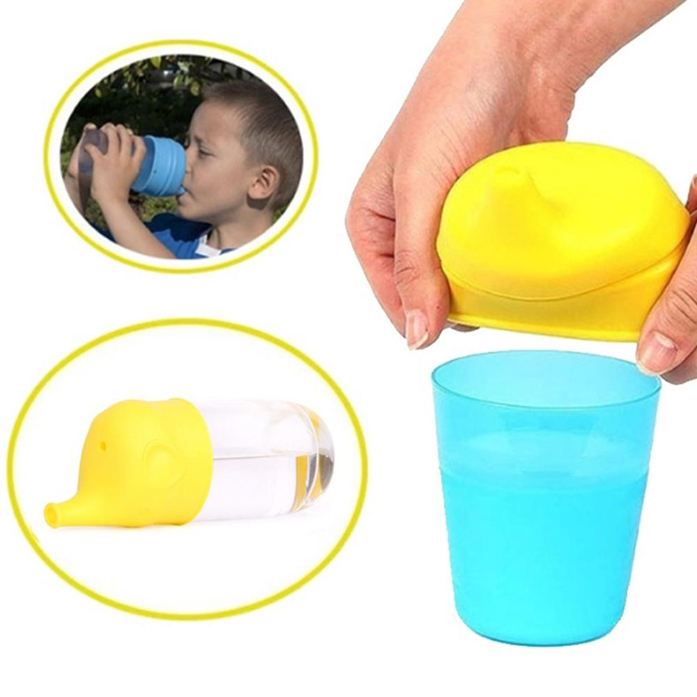 Elephant Shape Suction Cup Cover Kid Silicone Sippy Lids Suck Bottle Trainingcup