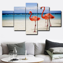Laeacco Flamingo Couple Canvas Prints Painting Home Decoration Wall Art Paintings Pictures For Living Room Bedroom No Frame