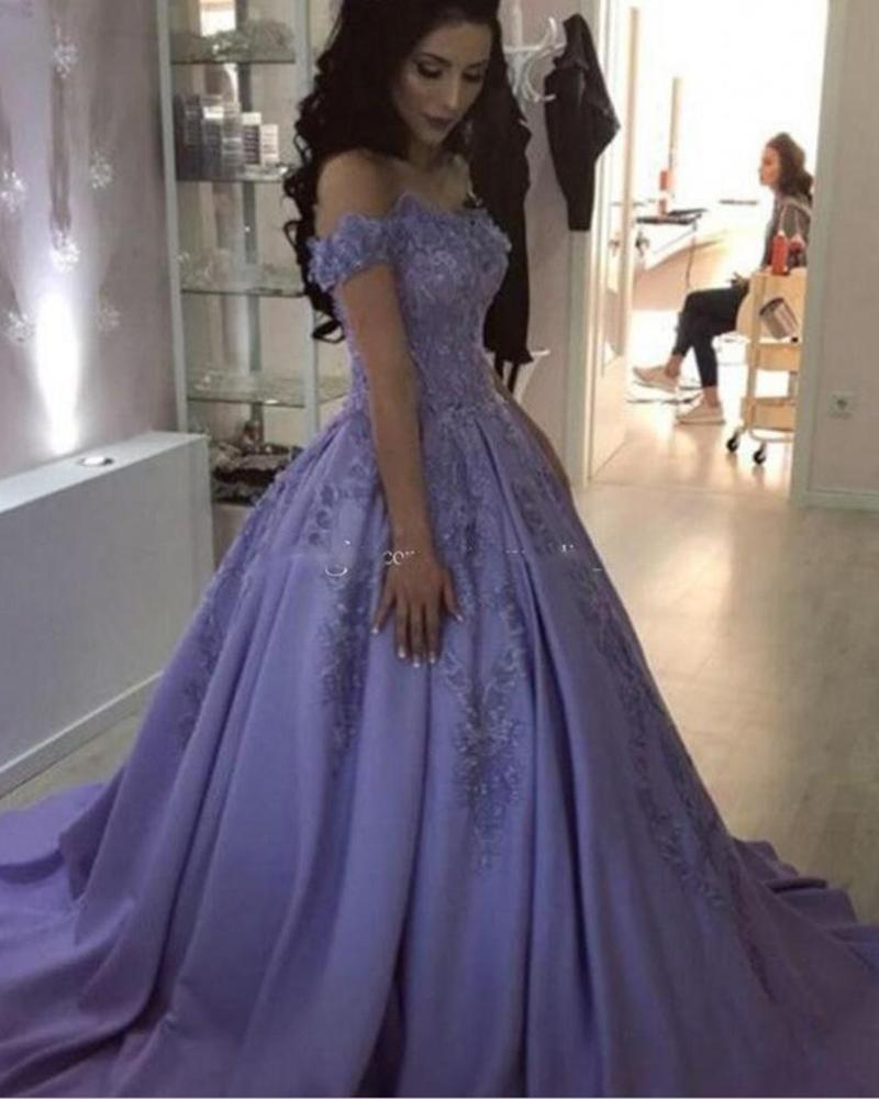Top qualité robe de bal hors de l'épaule Quinceanera robes balayage Train lilas Satin Appliques paillettes vestidos de 15