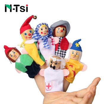 Baby Toys Animal Family Finger Puppets Wooden Cartoon Theater Soft Doll Kids Educational Toys for Children Popular Gift Play 1