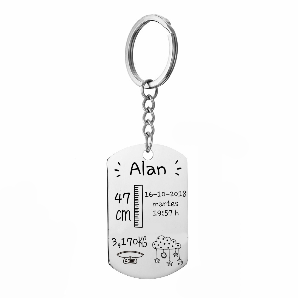 Custom Baby Stats DIY Tag Key Chains Gift For Mum Aunt Personalized Baby Baptism Key Holder Stainless Steel Gift in Key Chains from Jewelry Accessories