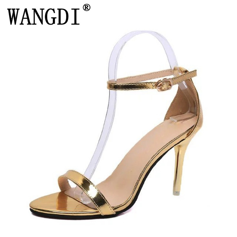 Gold Silver High Heels 2018 Summer Gladiator Sandals Sexy Buckle Pumps Casual Platform Wedding Shoes Woman size 35-39 akexiya 2017 suede gladiator sandals platform wedges summer creepers casual buckle shoes woman sexy fashion high heels