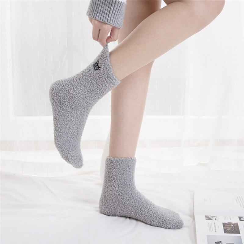Embroidery Cat Cute Socks Thickening Women Cotton Lovely  Plush Keep Warm Sleep Ladies Funny Cute Socks Hosiery Winter Kawaii