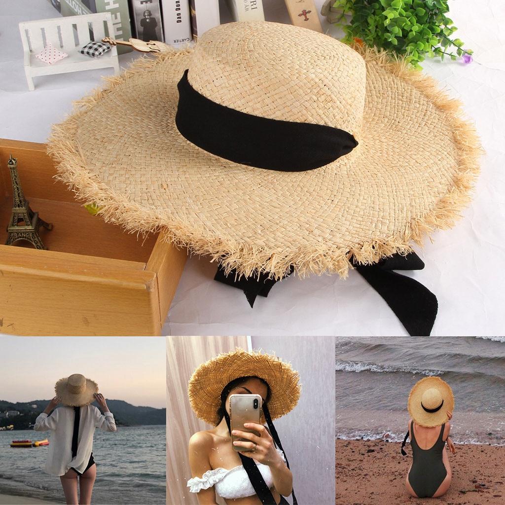 Hawcoar Ladies Women New Fashion Wide Brimmed Floppy Summer Sun Beach Straw Hat кепка шляпа женская летняя Z4
