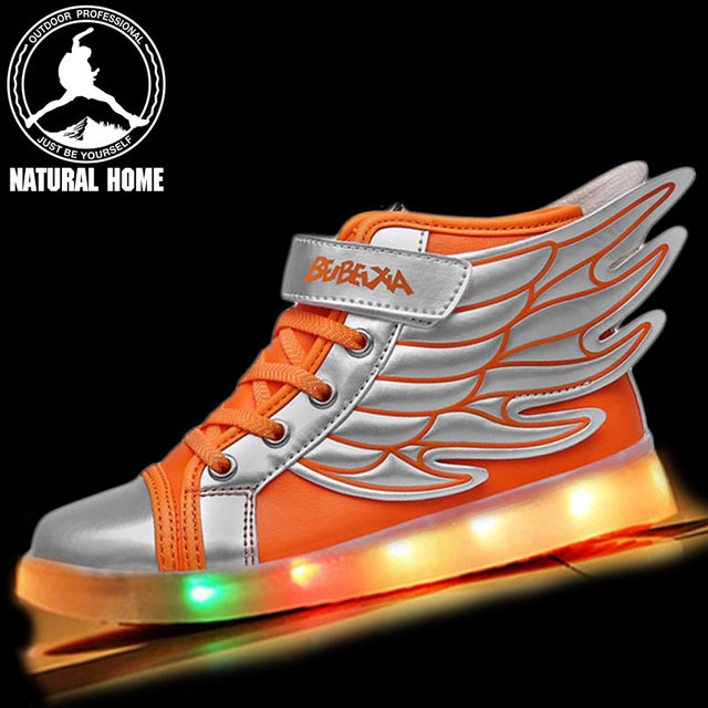 NaturalHome 2017 NEW Children USB Charging Sneakers Kids LED Luminous Shoes Boys Girls Flashing Lights Sneakers Shoes