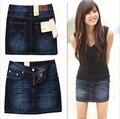 2016 summer mujeres de talla Especial clásico paquete de la cadera mujeres de Mediana cintura Media sección ropa vaquera denim Jeans falda