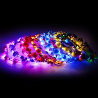 Fashion Flashing LED Glow Flower Crown Headbands Light Party Rave Floral Hair Garland Wreath Wedding Flower Girl Headpiece Decor