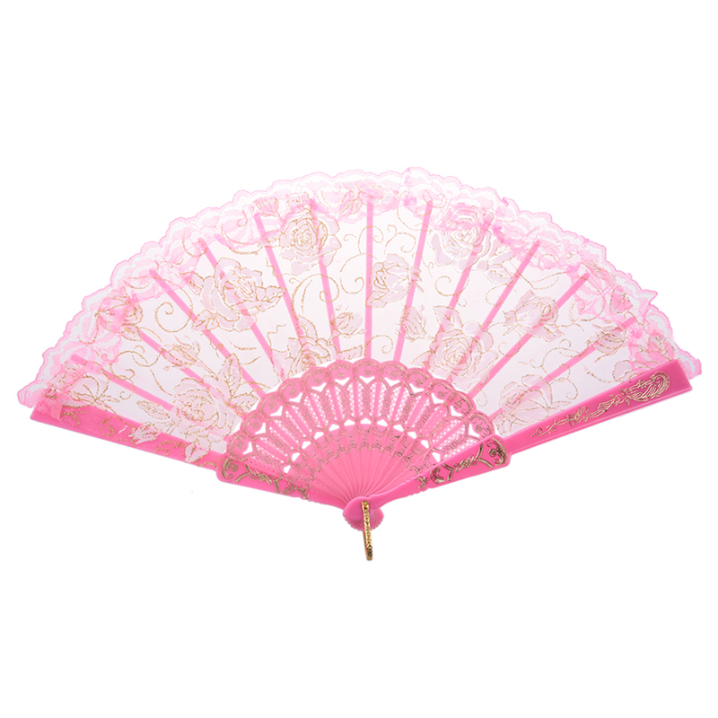 HOT-Ultra Pink Plastic Ribs Rose Print Dance Fold Hand Fan Made Of Organza, Rose Printed Plastic Ribs And Lace Trim