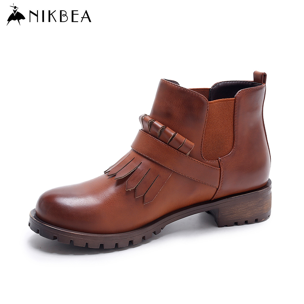 Nikbea Vintage Ankle Boots for Women Fringe Boots Tassel Flat Boots Slip on Booties 2016 Autumn Winter Shoes Botas Largas Mujer nikbea vintage western boots cowboy ankle boots for women pointed toe boots winter 2016 autumn shoes pu chunky low heel booties