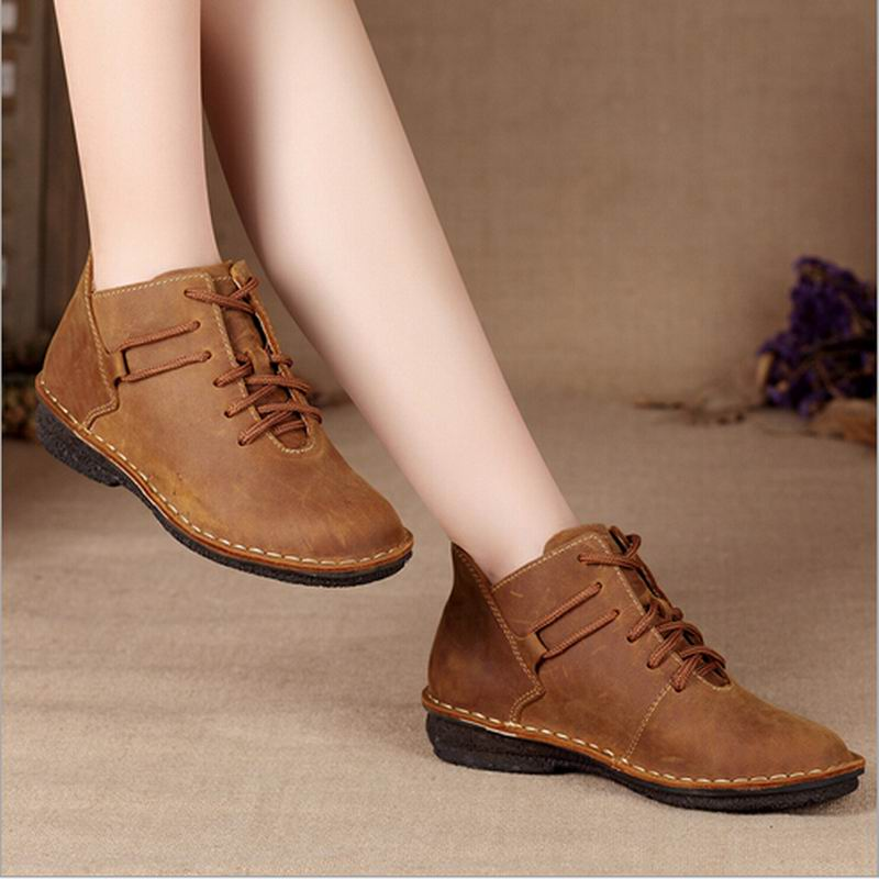 New 2017 Women Genuine Leather Shoes Vintage Casual Shoes Women Fashion Ankle font b Boots b