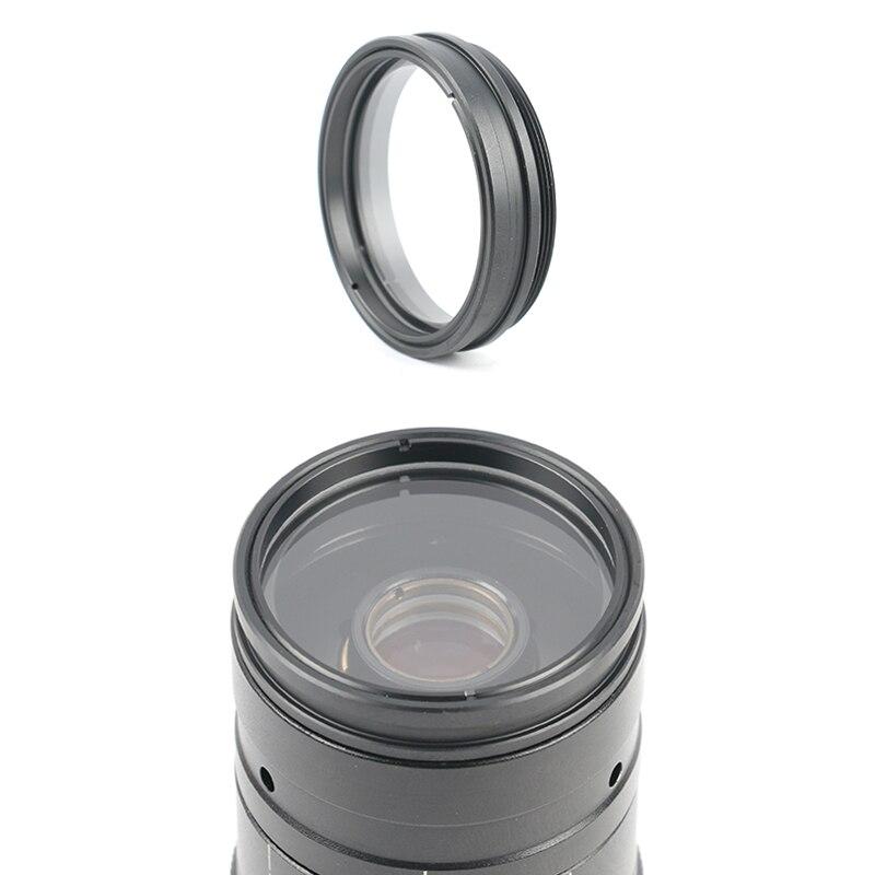 Proteção 1X Barlow Lente Objetiva Auxiliar Vidro Evitar Fuligem Para 200X 180X 120X 300X C MOUNT Lens Câmera De Vídeo Microscópio