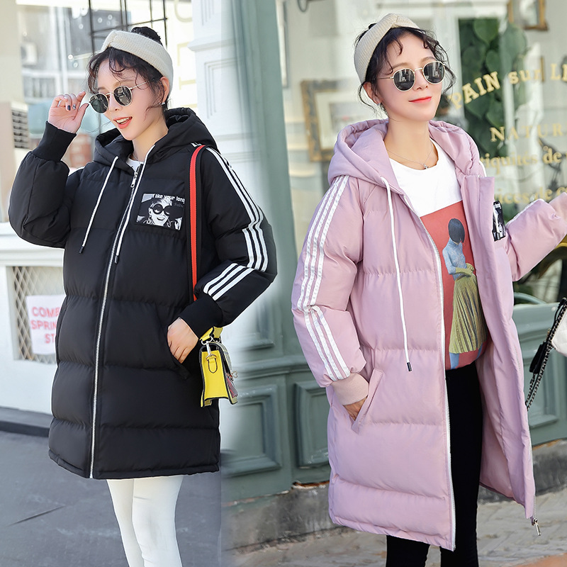 Maternity Women New Moms Winter Long Sleeve Hooded Down Cotton Cardigan Coat Casual Fashion Thicken Warm Puffer Outdoor Jackets plus size casual women long cotton jackets 2017 autumn winter new hooded thicker coat full sleeve loose warm cotton coat qh0446